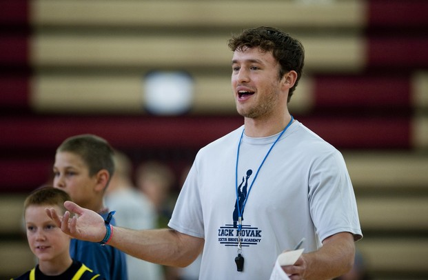 Former University of Michigan player Zack Novak leads a a youth basketball camp at Dexter High School on Tuesday, July 9. Daniel Brenner I AnnArbor.com